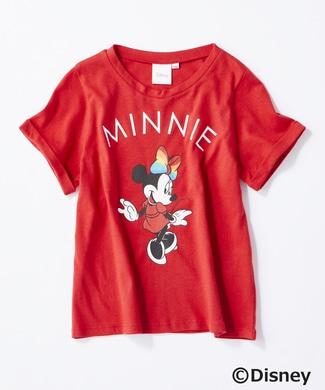 DISNEY レインボーリボンプリントTシャツ(ミニー) キッズ レッド