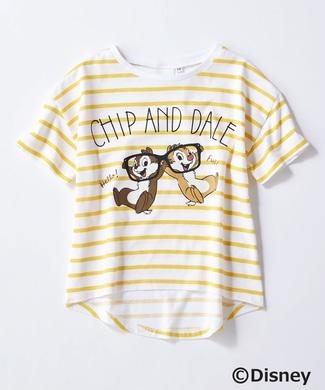 DISNEY プリントボーダーTシャツ(チップ&デール) キッズ イエロー