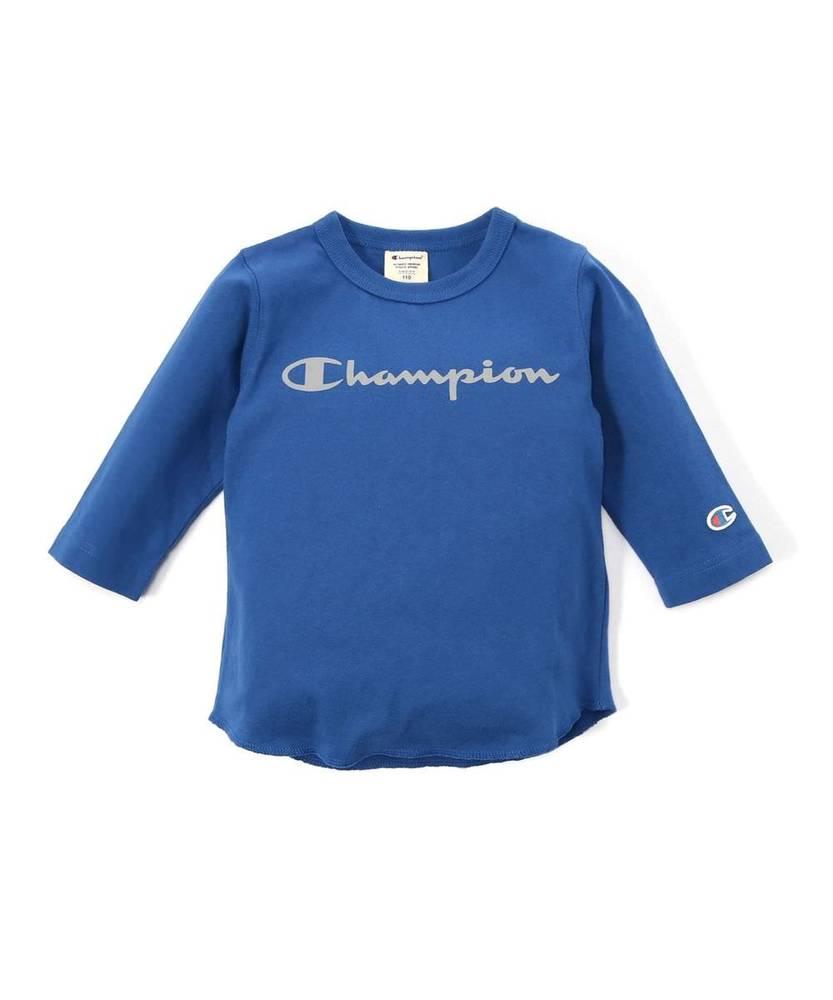Champion フロントロゴ7分袖Tシャツ キッズ ブルー