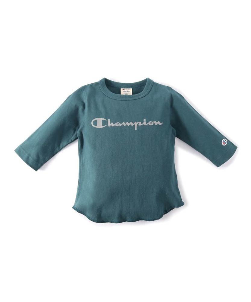 Champion フロントロゴ7分袖Tシャツ キッズ グリーン