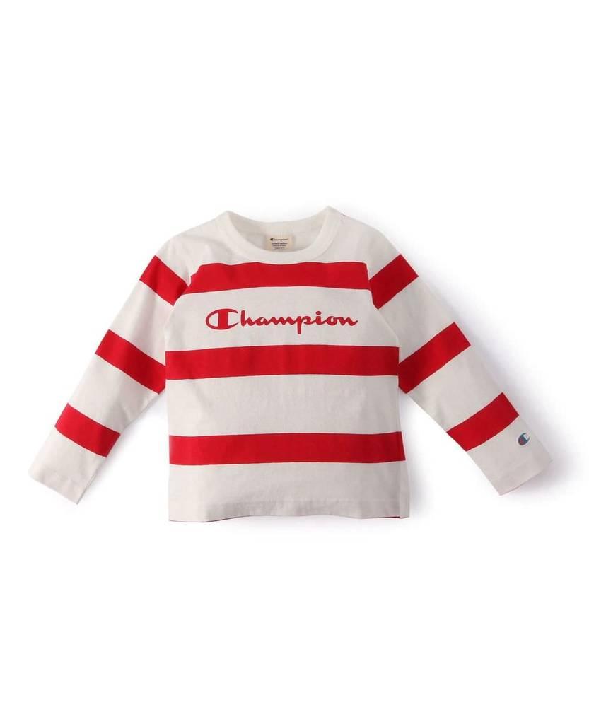 Champion 【WEB限定】ロングスリーブボーダーTシャツ キッズ ホワイト*レッド