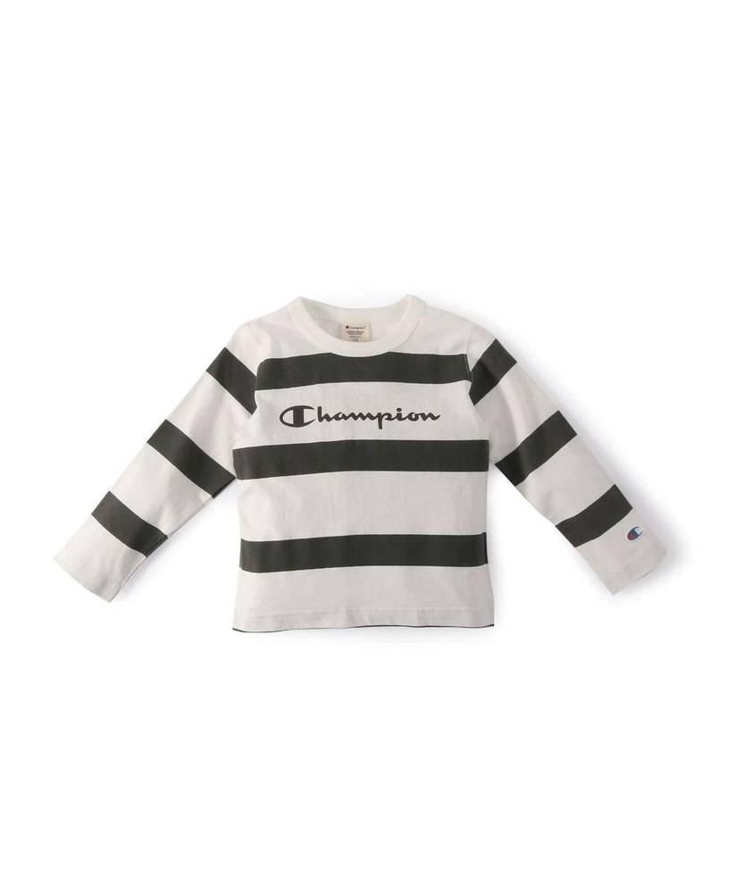 Champion 【WEB限定】ロングスリーブボーダーTシャツ キッズ ホワイト*グレー