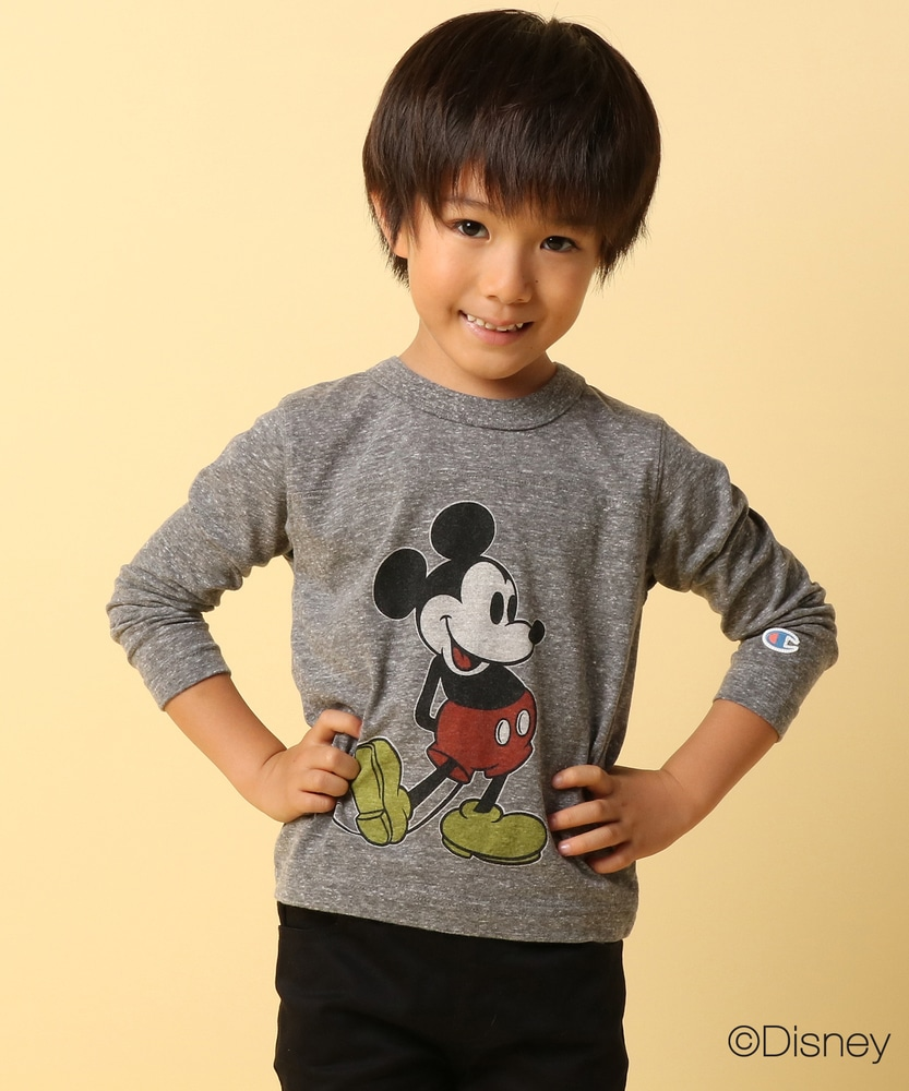 Champion 【WEB限定】ミッキーフットボールTシャツ キッズ グレー