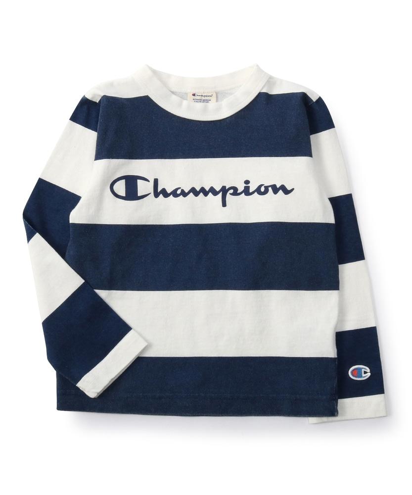 Champion ボーダー長袖Tシャツ キッズ ネイビー*オフホワイト
