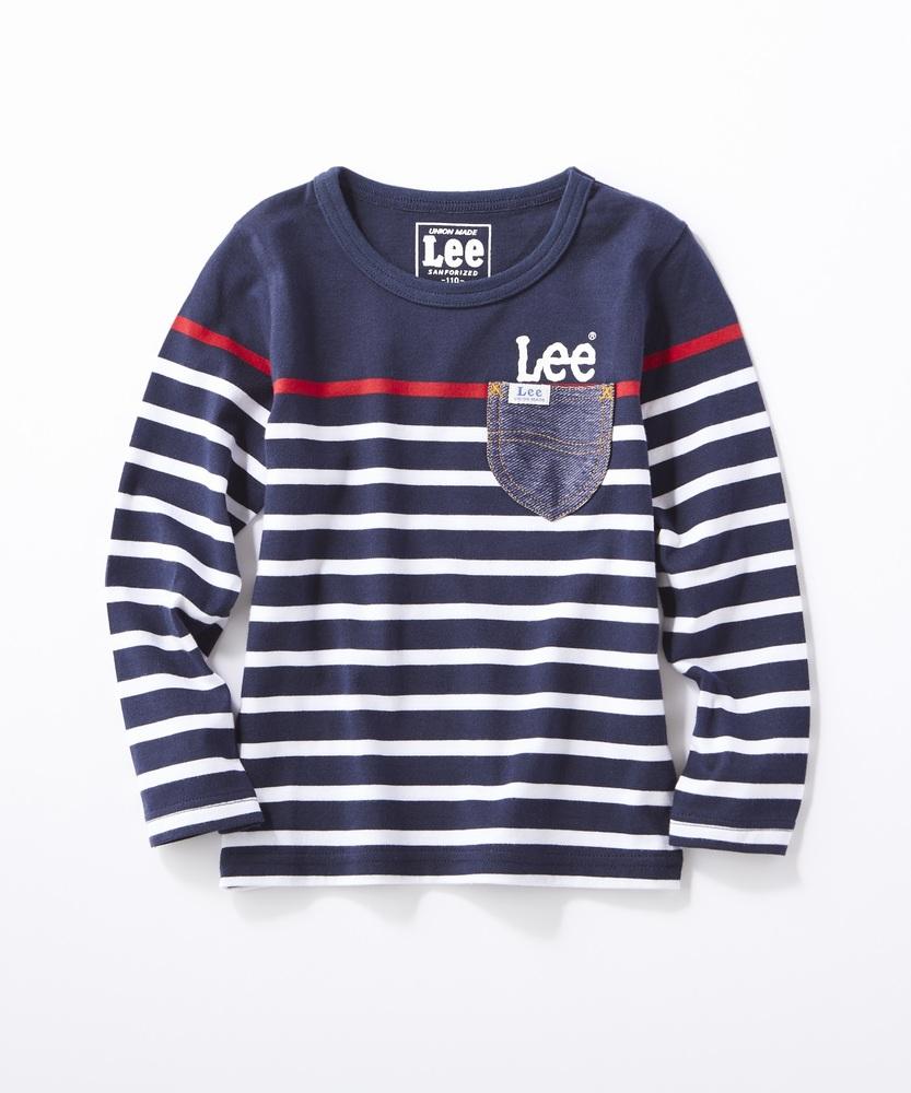 Lee ボーダーポケットロングTシャツ キッズ ネイビー