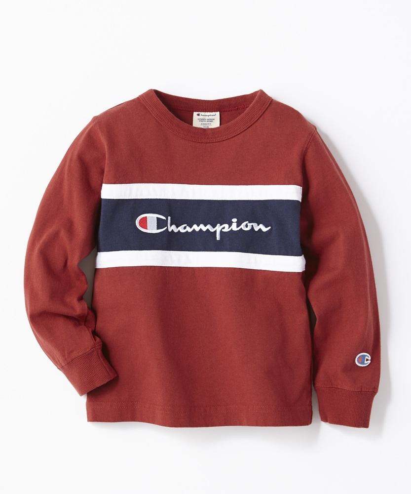 Champion 切り替えロングTシャツ キッズ レッド