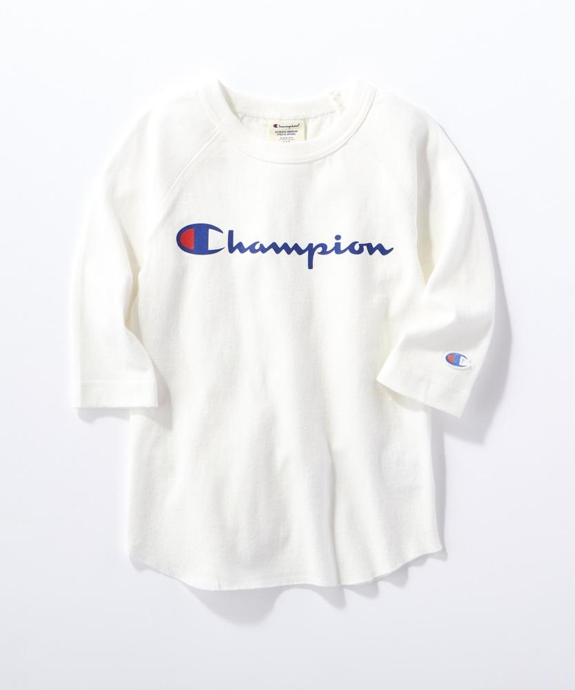 Champion 【WEB限定】ラグラン7分袖Tシャツ(ジュニアサイズ150・160cm) キッズ オフシロ