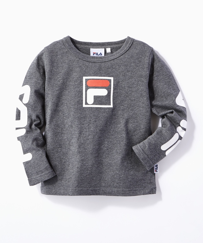 FILA 袖プリントロンT キッズ ダークグレー
