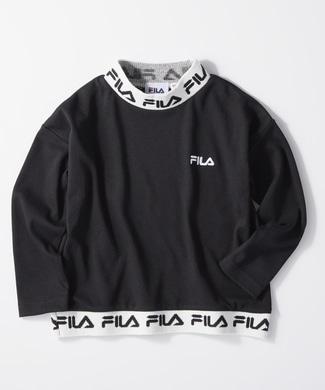 FILA モックネックロゴロンT キッズ ブラック