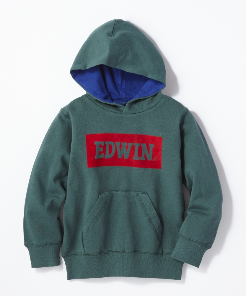 EDWIN ボックスロゴパーカー キッズ グリーン