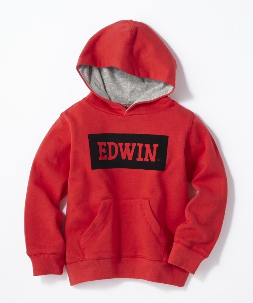 EDWIN ボックスロゴパーカー キッズ レッド