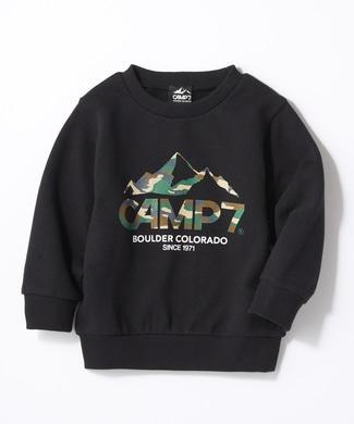 CAMP7 カモフラロゴクルーネックスウェット キッズ ブラック