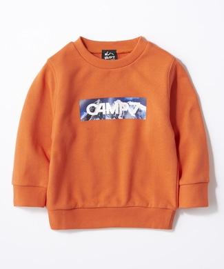 CAMP7 ボックスロゴクルーネックスウェット キッズ オレンジ