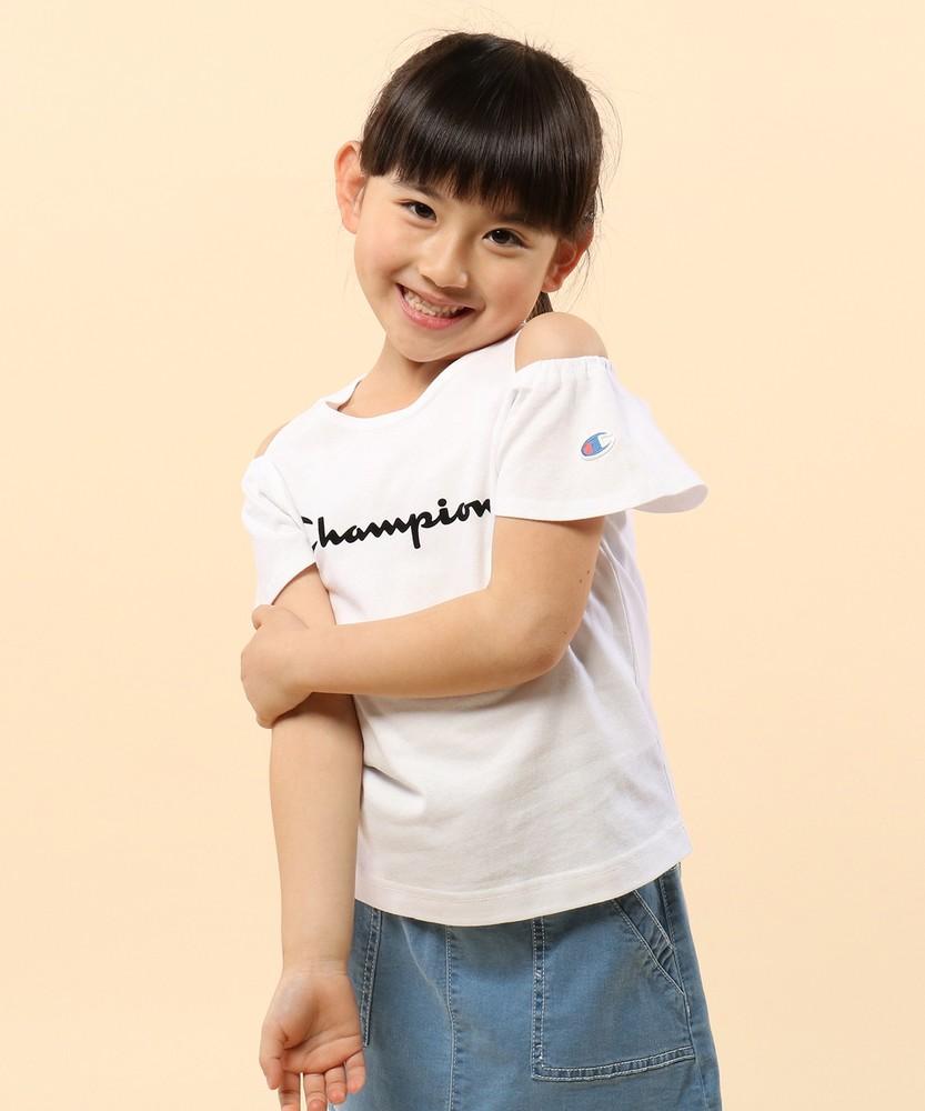 Champion 【WEB限定】肩開きTシャツ キッズ ホワイト