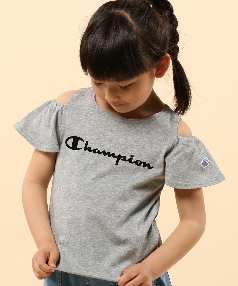 Champion 【WEB限定】肩開きTシャツ キッズ グレー