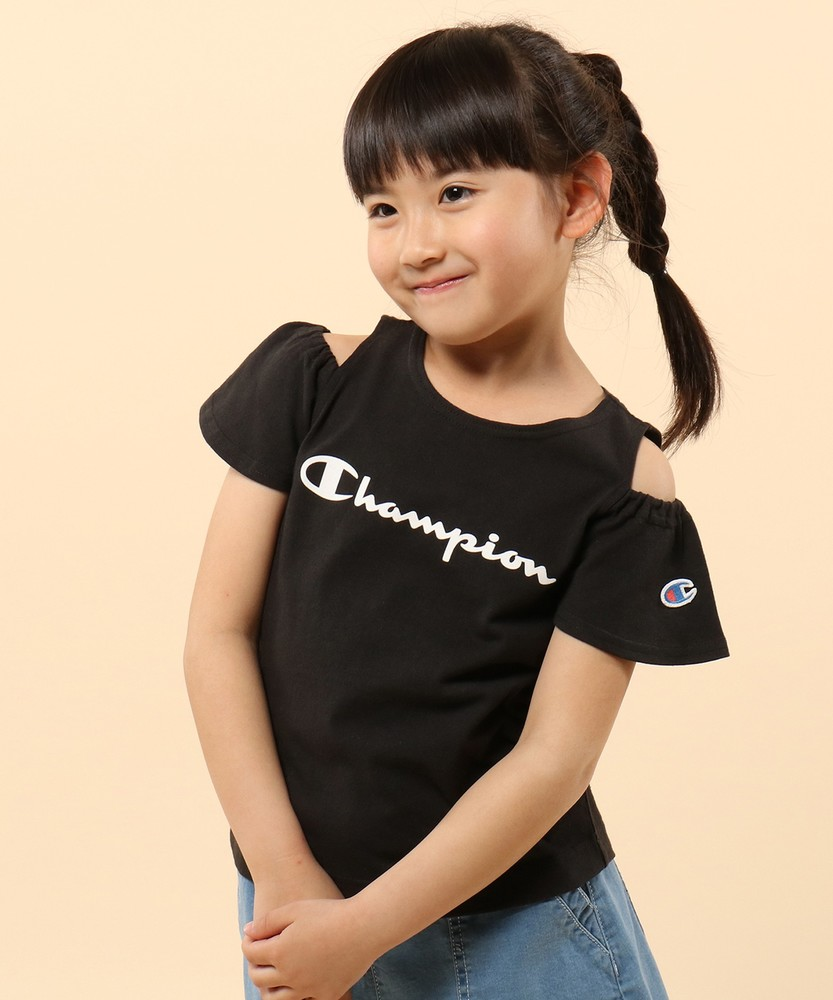 Champion 【WEB限定】肩開きTシャツ キッズ ブラック