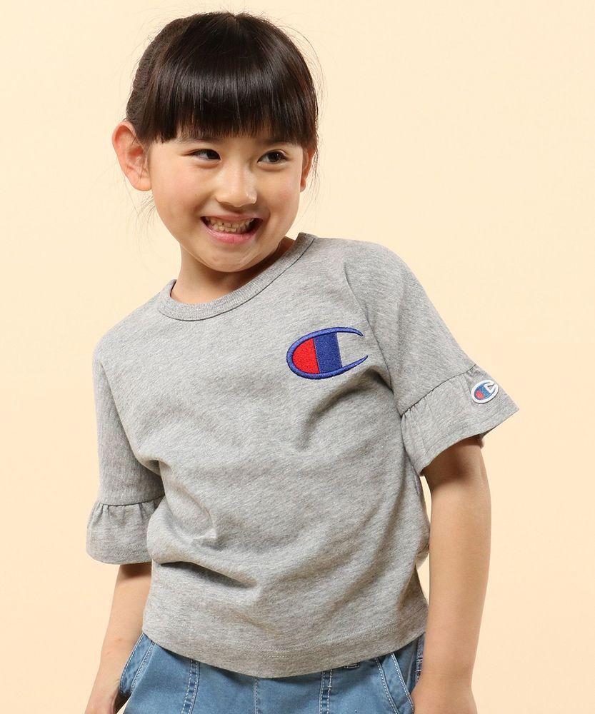 Champion 【WEB限定】フレアスリーブ刺繍Tシャツ キッズ ピンク