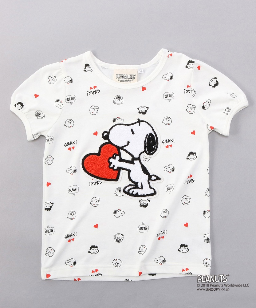 PEANUTS スヌーピーパフスリーブTシャツ (ジュニアサイズ150・160cm) キッズ オフシロ