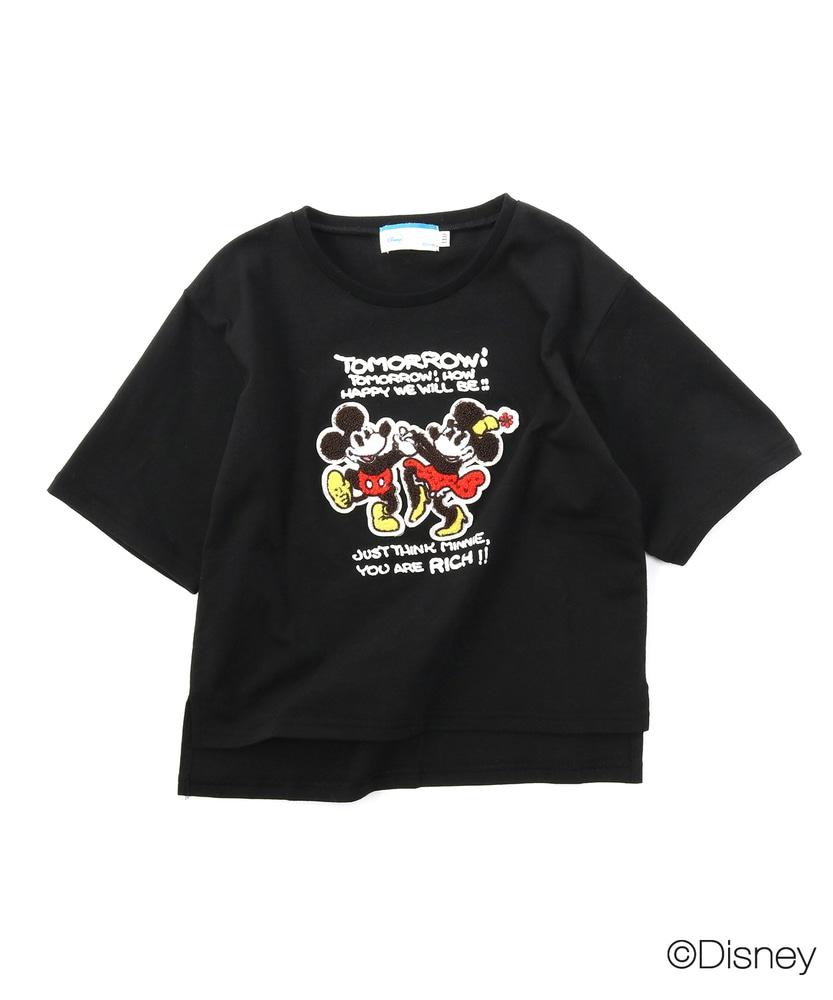 DISNEY 【WEB限定価格】サガラ刺繍&メッセージロゴTシャツ キッズ ブラック