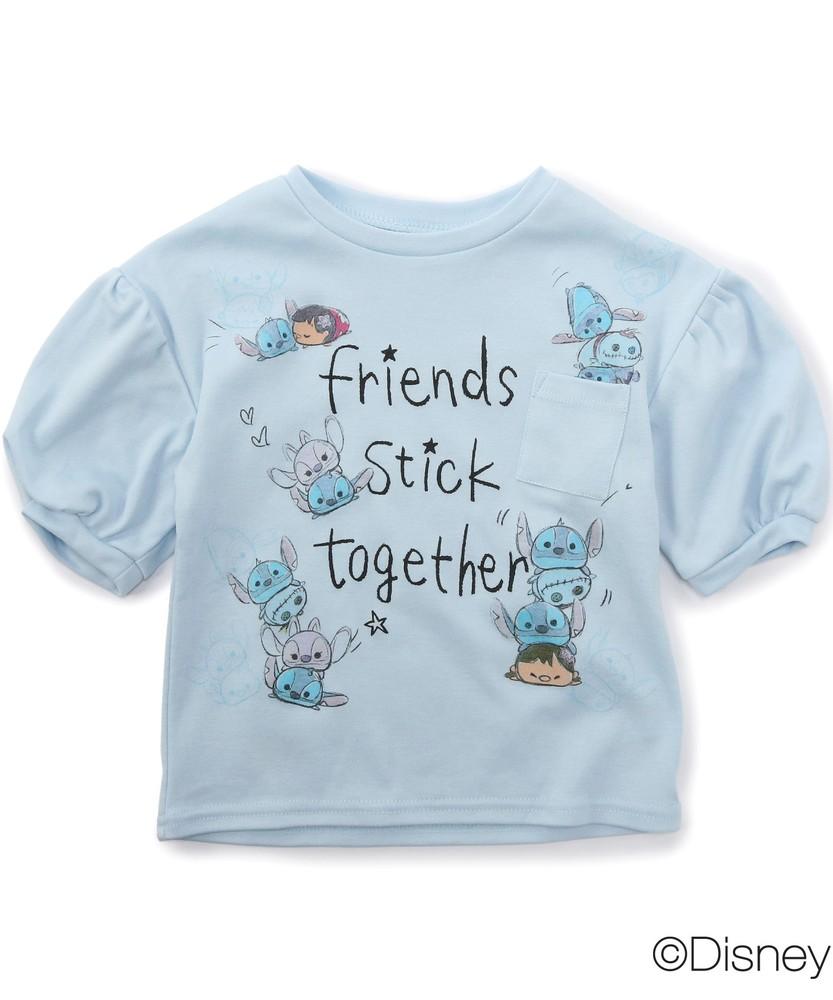 DISNEY スティッチデザイン プリントTシャツ(ジュニアサイズ150・160cm) キッズ サックス