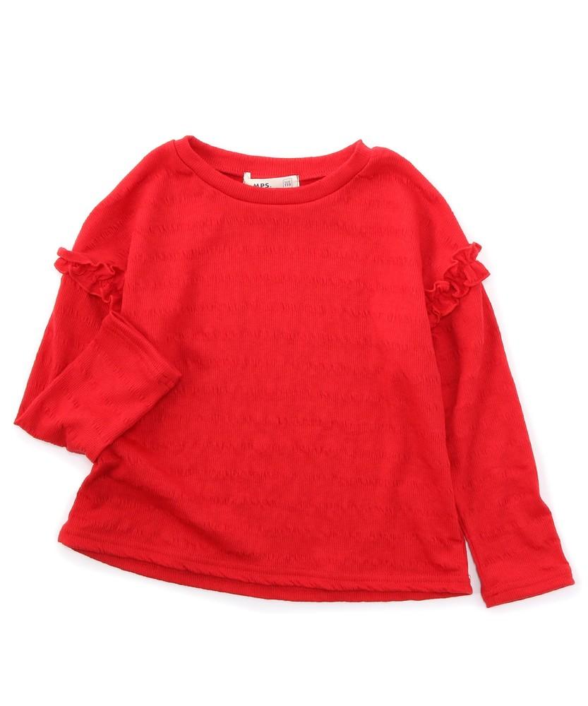 MPS(160) ジャガード織り長袖トップス(ジュニアサイズ160cm) キッズ レッド