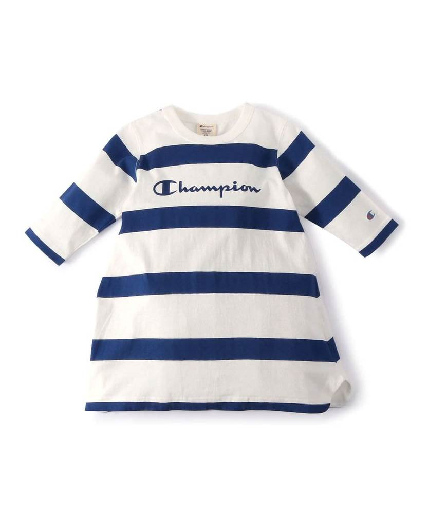 Champion 【WEB限定】3/4スリーブチュニック キッズ ホワイト*ブルー