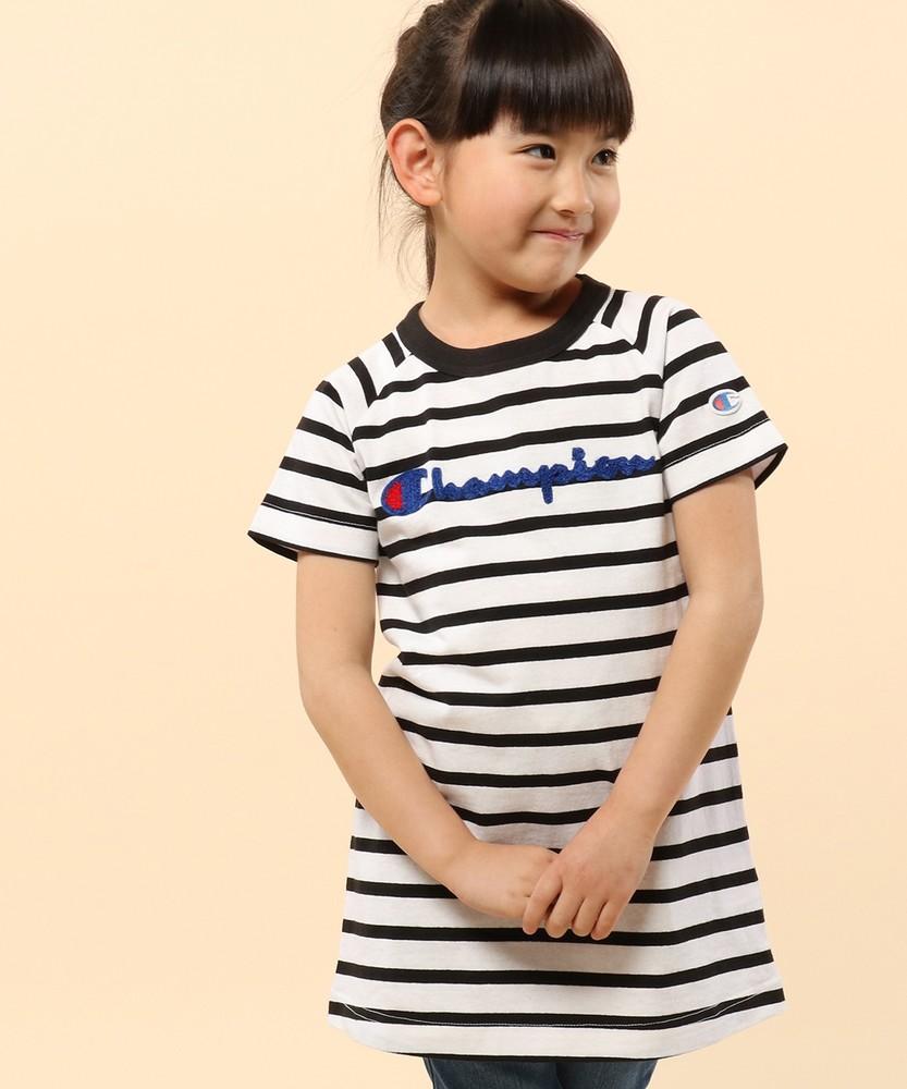 Champion 【WEB限定】サガラ刺繍半袖ラグランチュニック キッズ ホワイト*ブラック