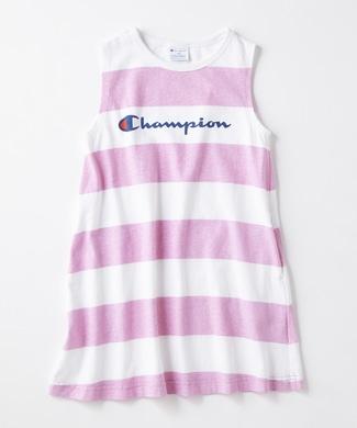 Champion 【WEB限定価格】ボーダーノースリーブワンピース キッズ ピンク