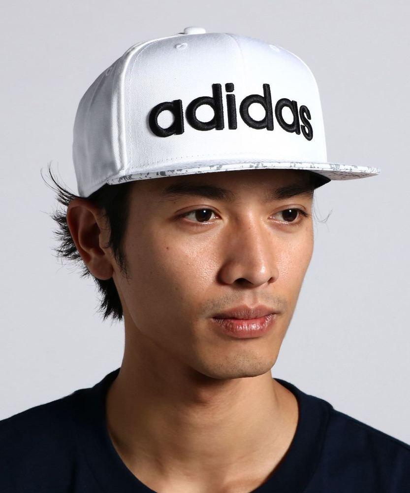 adidas ロゴ刺繍平つばキャップ メンズ ホワイト