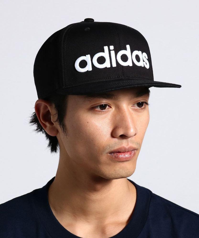 adidas ロゴ刺繍平つばキャップ メンズ ブラック