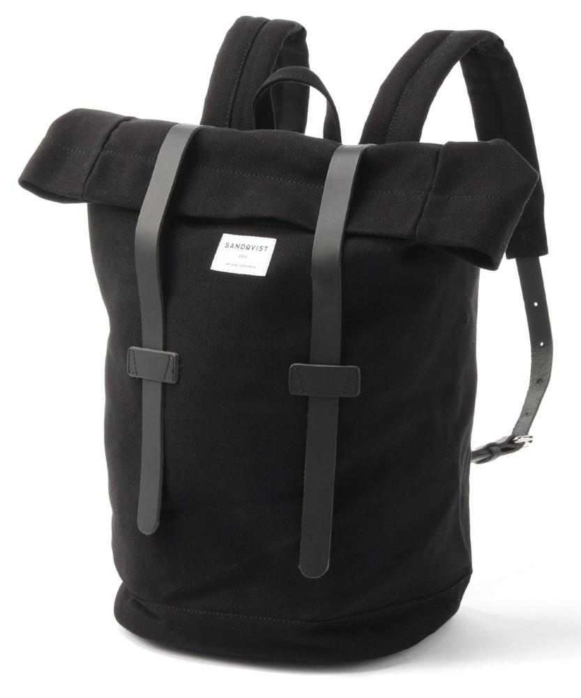 SANDQVIST 【WEB限定】革ベルトつきトート型バックパック メンズ ブラック