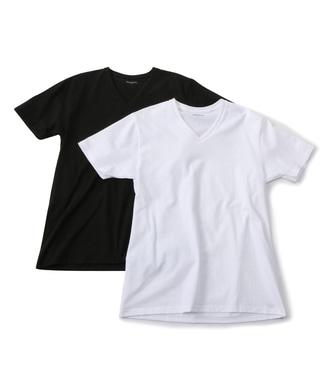 gunze スーパーコットンVネックTシャツ2枚組 メンズ ホワイト*ブラック