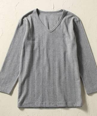 BASIC INNER VネックフライスロングTシャツ メンズ グレー