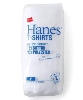 HANES 「Japan Fit」 無地Vネック半袖Tシャツ白2枚組 メンズ ホワイト