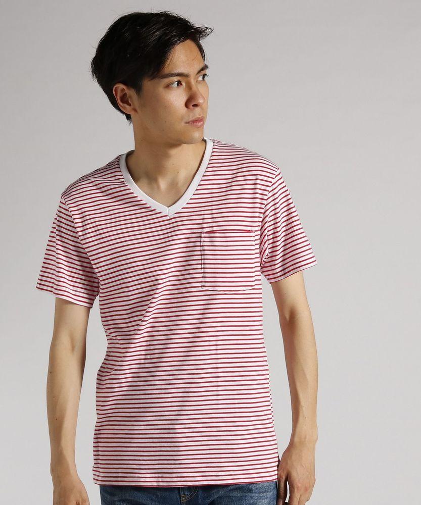 BASIC INNER 胸ポケット付き天竺ボーダーVネック半袖Tシャツ メンズ レッド*ホワイト