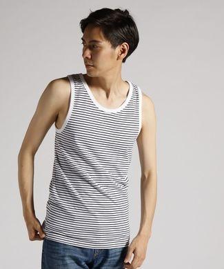 BASIC INNER 【綿100%】天竺ボーダータンクトップ メンズ ホワイト*ネイビー