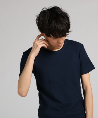 BASIC INNER ワッフルクルーネックTシャツ メンズ ネイビー