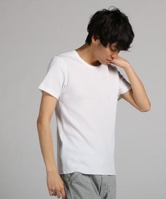 BASIC INNER ワッフルクルーネックTシャツ メンズ ホワイト