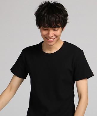 BASIC INNER ワッフルクルーネックTシャツ メンズ ブラック