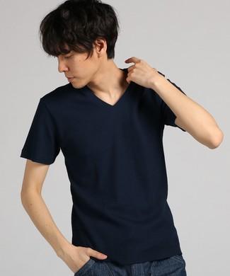 BASIC INNER ワッフルVネックTシャツ メンズ ネイビー