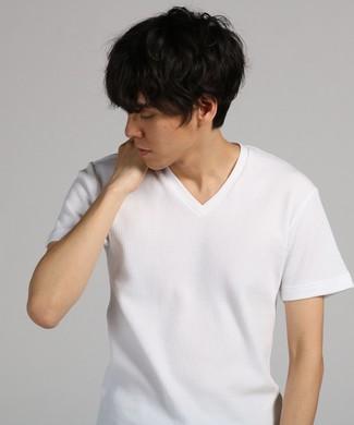 BASIC INNER ワッフルVネックTシャツ メンズ ホワイト