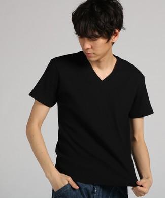 BASIC INNER ワッフルVネックTシャツ メンズ ブラック