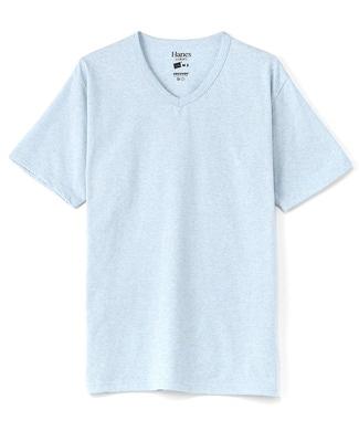 HANES VネックTシャツ メンズ サックス