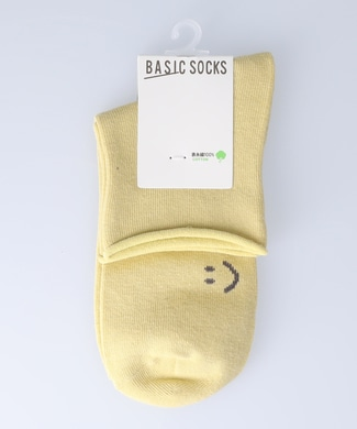 BASIC SOCKS スマイルロールトップソックス イエロー