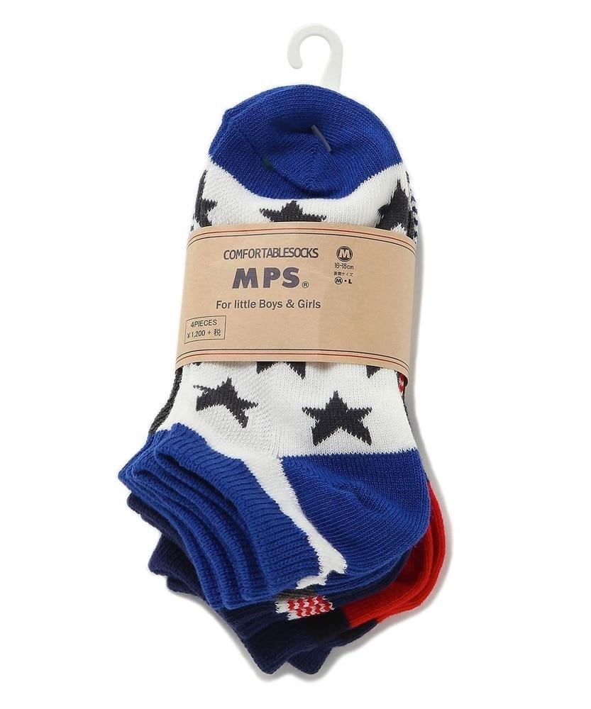 MPS ブルーカラーボーイズ4Pソックス キッズ ブルー