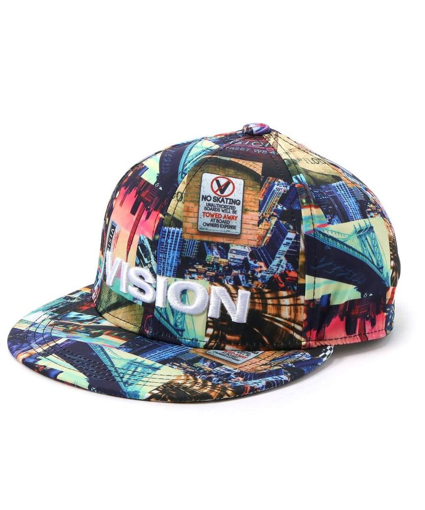 VISION STREET WEAR 総柄キャップ キッズ ブラック