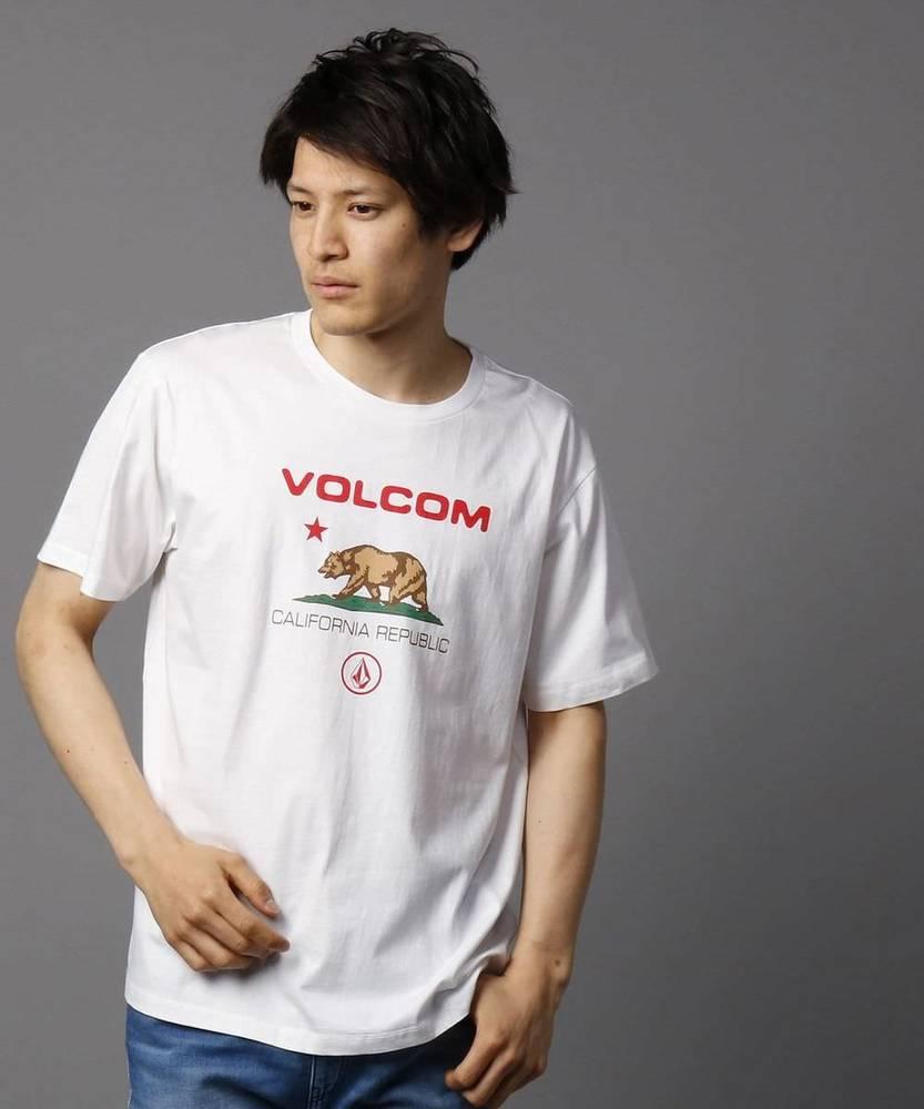 VOLCOM カリフォリニアベアーロゴTシャツ メンズ ホワイト