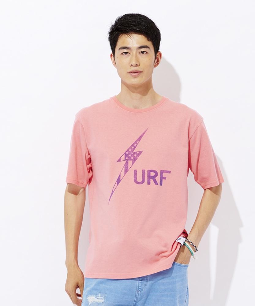 Lightning Bolt サーフロゴTシャツ メンズ ピンク