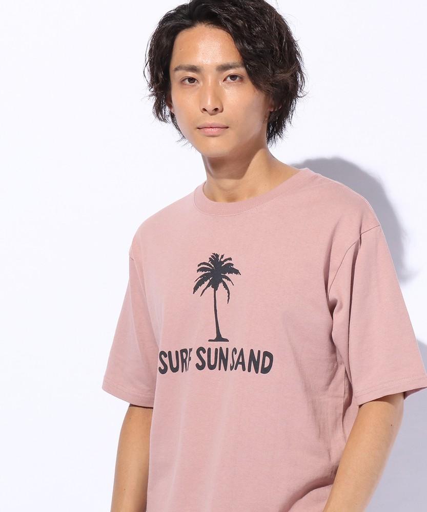 MR. RIGHT サーフプリントTシャツ メンズ レッド