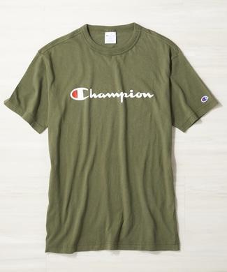 Champion ロゴTシャツ メンズ グリーン